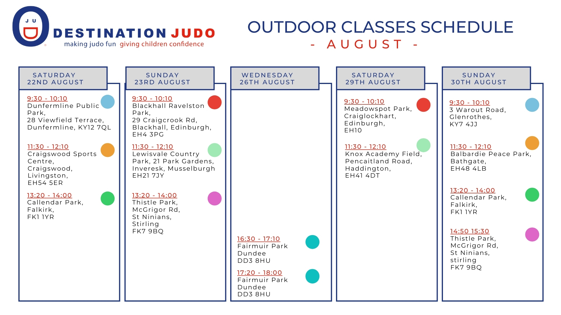 August Outdoor Classes Schedule