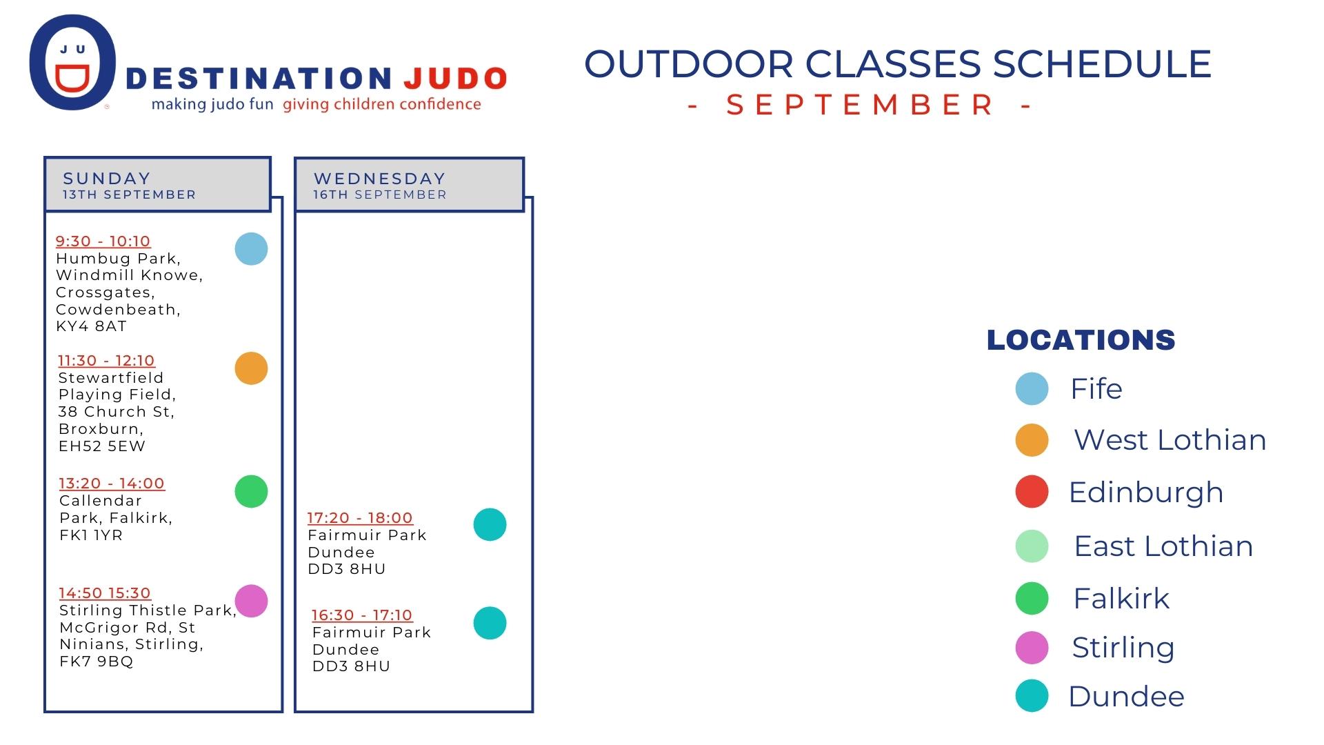 September Outdoor Classes Schedule